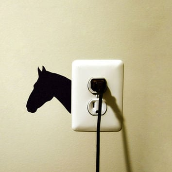 Horse Head Fabric Wall Decal - Horse Stickers - Black Horse Decor