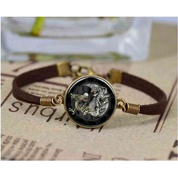 Brand New style Tai Chi dragon tiger Yin Yang retro glass bracelet long bracelet jewelry items for women men Bangle