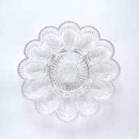 1940s French Egg Plate Portieux Clear Glass Flower Shape