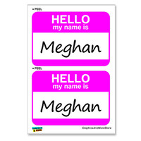 Meghan Hello My Name Is - Sheet of 2 Stickers