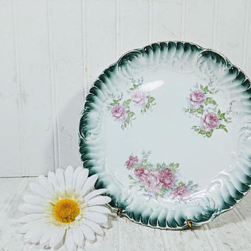Ultra Shabby Chic Green Pink White Plate with Ribbed Edge Loads of Patina Character Semi Porcelain Round Pink Roses Plate for Decor or More