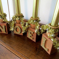 Wood Christmas Candle Holder / Gold Wood Candle Holder / Noel Christmas Candle Holder / Christmas Decor /