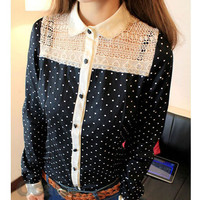 Career Korean Women Long Sleeve Ploka Dot Chiffon Top Girls t Shirt Casua Blouse
