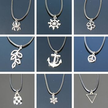 Pendant Necklaces Men Punk Rope Chain Colar Women Bijoux Anchor Animal Moon Tree Leaf Geometric Collares Cheap Fashion Jewelry