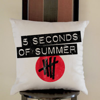 5 Second of Summer Logo Pillow, Pillow Case, Pillow Cover, 16 x 16 Inch One Side, 16 x 16 Inch Two Side, 18 x 18 Inch One Side, 18 x 18 Inch Two Side, 20 x 20 Inch One Side, 20 x 20 Inch Two Side