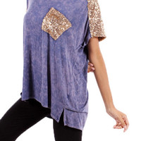 Sequin Blouse in Blue