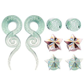 Bodyj4you 8PCS Gauges Set 12mm Glow in the Dark Glass Taper Hangers and Saddle Plugs Stretchers