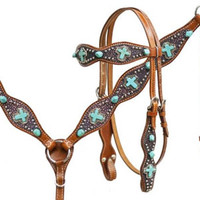 Saddles Tack Horse Supplies - ChickSaddlery.com Showman Headstall, Breast Collar, Reins Set With Pink Stingray Overlay