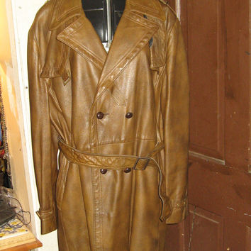 Vintage  double breasted trench spy PEA COAT brown Soft LEATHER Jacket by Reed