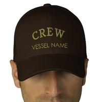 Personalised Boat Name Crew Hat Embroidered Hat from Zazzle.com