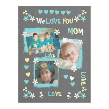 Gray Turquoise Photos Fleece Blanket for Mom
