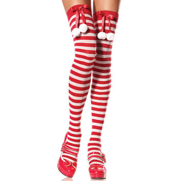 Lovely Butterfly Christmas Stripes Sexy Stockings [8864120071]