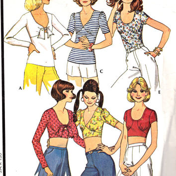 1970's Misses Halter Crop Tops McCall's 4488 Vintage Sewing Pattern Bust 36-38""