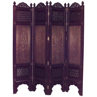 19th c. Middle Eastern Filigreed Teak and Brass Folding Screen