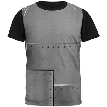 Halloween Robot Rivets Costume Steel All Over Mens Black Back T Shirt