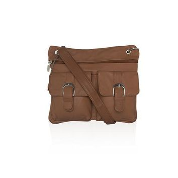 AFONiE Leather Crossbody Bags Casual Messenger Bag