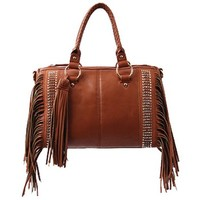 Western Rhinestone Fringe Handbag Shoulder Purse (Brown)