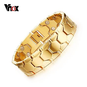 Vnox Magnetic Men's Bracelets Gold-Color Football Design Health Care Hand Chain Length Adjustable