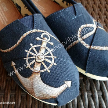 Adult  Anchor and Rope Heart  Custom Painted TOMS by ibleedheART