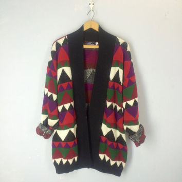 80s Cardigan Sweater, Southwestern Sweater, Slouchy Sweater Cardigan, Abstract Sweater, 1980s Cardigan, Oversized Sweater