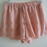 High Waist Pastel Pink Cutout Scallop Short from Poison