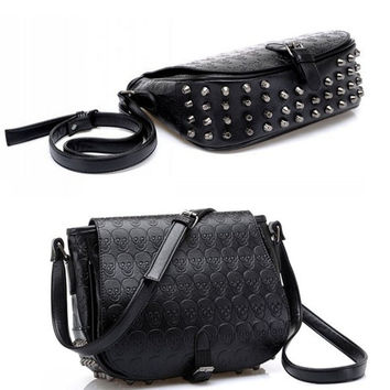 Perfect Girl's Retro Rivet Skull Handbag Shoulder Bag Clutch Purse (Color: Black) = 1695855044