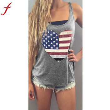 Women Flag Print Sleeveless Tank Crop Tops T-Shirt