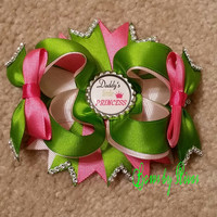 Lime Green, Pink, and Light Pink Boutique Stacked Hair Bow with Daddy's Little Princess Bottle Cap