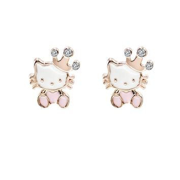 1 Pair Gold Tone Cute Dancing Cat Crystal, Enamel  Stud Earrings 12 Designs