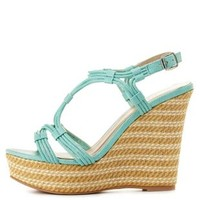Mint Qupid Strappy Platform Wedge Sandals by
