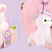 Buy Kawaii Pastel Alpaca Plush Phone Charm at Tofu Cute