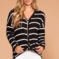 Colette Black And White Stripe Brushed Knit Tie-Front Sweater