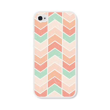 Ombre Cream and Peach Herringbone Chevron iPhone 4 Case - Pink iPhone 4 Skin - Ombre iPhone 4 Cover - Coral Cell Phone Case