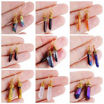 Gold Plated Natural Rock Crystal Irregular Stone Drop Dangle Earring