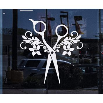 Window Decor for Business and Wall Decal Vinyl Scissors Beauty Salon Hair Barbershop Stickers Unique Gift (ig3112w)