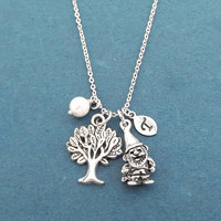Personalized, Letter, Initial, Garden gnome, Tree, White, Pearl, Silver, Necklace, Birthday, Best friends, Christmas, Gift, Jewelry