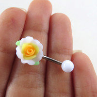 Detailed Yellow White Rose Belly Button Ring Flower Navel Stud Jewelry Bar Barbell Piercing