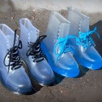 Rosette Spectrum-01 Jelly Lace Up Rain Boot (Blue) - Shoes 4 U Las Vegas