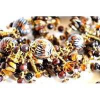 Tiger Stripe Beaded Necklace with Tigereye Gems and Swarovksi Crystals - Blue Morning Expressions