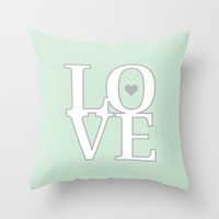 LOVE print Throw Pillow by Janelle Krupa