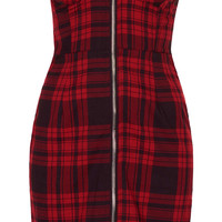 **Red Tartan Sweetheart Zip Front Bodycon Dress by Oh My Love