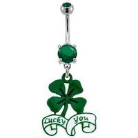 Lucky You Clover Belly Button Ring