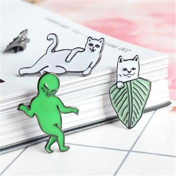 1 Pc Cartoon Funny Cats Metal Brooch Pins Badge Button Corsage Gift Men Women Unisex Jewelry Gift