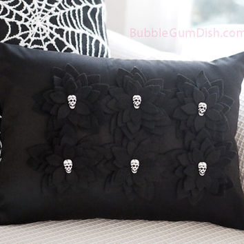 Halloween Skulls Decor Black Pillow Cover Felt Flowers Skull Button Centers