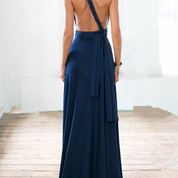 Navy Blue Multi-way Strap Maxi Dress