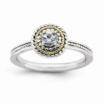 Sterling Silver & 14k Gold Stackable Expressions Sterling Silver Aquamarine Ring