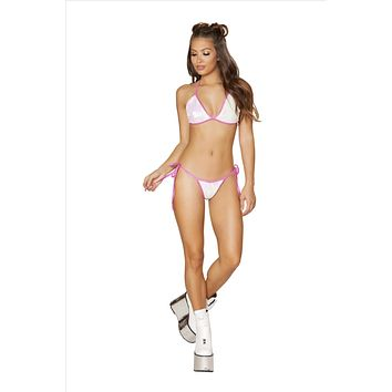 White w/ Metallic Pink Trim Sequin Fixed Triangle Top and Side Tie Cheeky Thong Bottom Bikini Set (Other Colors Available)