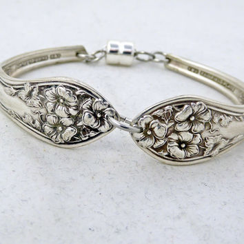 Bracelet, Silver spoon jewelry, silver bracelet, Fairfield One 1913 pattern, spoon bracelet, vintage silverware, free gift box