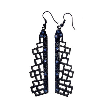 Earrings, contemporary, modern jewelry design, FREE shipping, lasercut wood, Swarovski crystals, polymer clay, handmade, black steel hooks