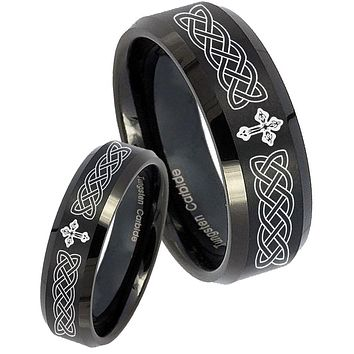 His Hers Celtic Cross Beveled Edges Brush Black Tungsten Promise Ring Set